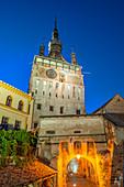 Clock tower at dusk, Sighisoara, Transylvania, Romania