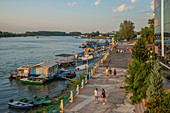 Waterfront promenade on the Danube, Tulcea, Danube Delta, organic reserve, UNESCO World Heritage Site, Dobruja, Romania