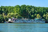 Old ship on the Sfantu Gheorghe arm of the Danube, Danube Delta, Biosphere Reserve, UNESCO World Heritage Site, Dobruja, Romania