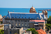 View from the Great Mosque to the Peter and Paul Cathedral and Constanta Harbor, Dobruja, Black Sea Coast, Romania