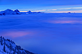 Deep view of evening high fog with Tannheim mountains, Tegelberg, Ammergau Alps, Swabia, Bavaria, Germany