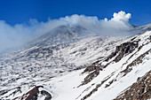 Sulfur clouds on snow-covered Mount Etna, UNESCO World Heritage Site, Monte Etna, Etna, Etna, Sicily, Italy