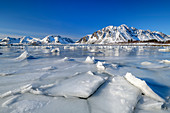 Ice floes by the sea in front of snowy mountains, Lofoten, Nordland, Norway