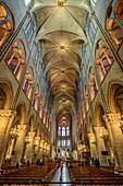 Kirchenschiff der Kathedral Notre-Dame, Ile de la Cite, UNESCO Welterbe Seine-Ufer, Paris, Frankreich