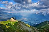 Kellerjochhütte stands above Inntal, Karwendel in the background, Kellerjochhütte, Tux Alps, Tyrol, Austria