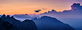 Panorama with dawn over Pizzocco and Monte San Mauro, Rifugio Dal Piaz, Feltre, Bellunesian Dolomites National Park, Dolomites, UNESCO World Heritage Dolomites, Veneto, Italy