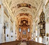 Interior shot of the St. Benedikt church, baroque, Benediktbeuern monastery, Benediktbeuern, Upper Bavaria, Bavaria, Germany