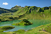 Schrecksee with island, Schrecksee, Jubiläumsweg, Allgäu Alps, Oberallgäu, Allgäu, Swabia, Bavaria, Germany