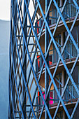 Facade of one of the hotel towers Falkensteiner Hotel, architect Matteo Thun, Katschberg, Carinthia, Austria