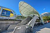 Hungerburgbahn arrives at Löwenhaus station, architect Zaha Hadid, Hungerburgbahn, Innsbruck, Tyrol, Austria