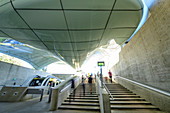 Several people leave the Hungerburg mountain station, architect Zaha Hadid, Hungerburgbahn, Hungerburg, Innsbruck, Tyrol, Austria