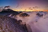 Dawn with Piz Boe and foggy mood, Sass Pordoi, Sellagruppe, Sella, Dolomites, UNESCO World Heritage Dolomites, South Tyrol, Italy