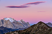 Morgenrot with cloud over Marmolada, Marmolata, Dolomites, UNESCO World Heritage Dolomites, Veneto, Italy