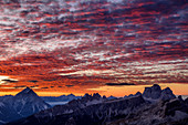 Red glowing clouds over Antelao, Croda da Lago and Monte Pelmo, Dolomites, UNESCO World Heritage Dolomites, Veneto, Italy