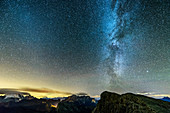 Starry sky with Milky Way over Marmolada, Sella and Great Lagazuoi, Dolomites, UNESCO World Heritage Dolomites, Veneto, Italy