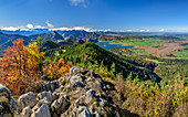 Panorama with deep view from Rabenkopf on Bavarian Alps, Kochelsee and Alpine foothills, Rabenkopf, Bavarian Alps, Upper Bavaria, Bavaria, Germany