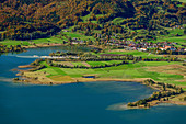 Deep view of Kochelsee and Schlehdorf with Schlehdorf Monastery, Rabenkopf, Bavarian Alps, Upper Bavaria, Bavaria, Germany