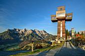 Walkable summit cross, Jakobskreuz in front of Loferer Steinbergen, Buchensteinwand, Salzburg, Austria