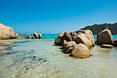 Strand und Granitfelsen, Sta-Giulia, Porto Vecchio, Département Corse-du-Sud, Korsika, Frankreich