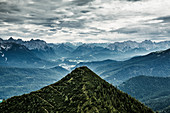 Mountain panorama, view from Herzogstand, Alps, Upper Bavaria, Bavaria, Germany