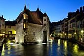 France, Haute Savoie, Annecy, Thiou channel, Palais de l Ile dated 12th century, historical museum, Christmas lights