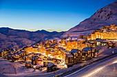 France, Savoie, Vanoise Massif, Vallee des Belleville, Les Trois Vallees (The Three Valleys) ski area, Val Thorens