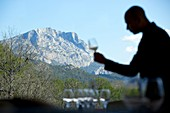 France, Bouches du Rhone, Le Tholonet, Hotel les Lodges Sainte Victoire, Le Saint Esteve restaurant, Chief Mathias Dandine, mountain Sainte Victoire in the background, compulsory mention : Hotel les Lodges Sainte Victoire