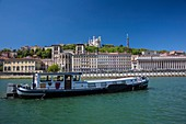 France, Rhone, Lyon, historical site listed as World Heritage by UNESCO,district Cordeliers, barge on the Saone, the Cathedral Saint Jean, the Law court and the basilica Notre-Dame of Fourvière
