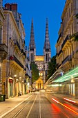 France, Gironde, Bordeaux, area classified World Heritage by UNESCO, sunset on the St. Andrew's Cathedral from the street Vital Carles