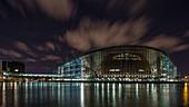 France, Bas Rhin, Strasbourg, European Parliament at Night
