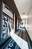 France, Paris, Hotel Molitor swimming pool, opening in May 2014, listed as historical monument, Art Deco, corridors of the hotel decorated with pictures of Gilles Rigoulet made ??in 1985