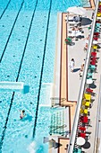 France, Paris, Hotel Molitor swimming pool, opening in May 2014, listed as historical monument, Art Deco, outdoor pool