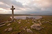 France, Lozere, Aubrac, cross Lake St Andeol on the way to Saint Jacques de Compostela