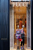 France, Paris, Luxury shops on Montaigne Avenue, Pucci
