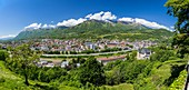 France, Savoie, Albertville, view on the Bauges Massif, the castle and the Arly since the park of the Petite Roche of the medieval town of Conflans
