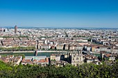 France, Rhone, Lyon, historical site listed as World Heritage by UNESCO, panorama from the Fourviere hill, Old Lyon and cathedral Saint Jean in the foreground and La Part Dieu and Oxygene towers in the background