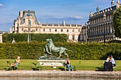 France, Paris, area listed as World Heritage by UNESCO, the Tuileries Gardens, listed as historical monuments in 1914, the Louvre museum in background