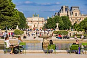 France, Paris, area listed as World Heritage by UNESCO, the Tuileries Gardens, listed as historical monuments in 1914, the large round basin
