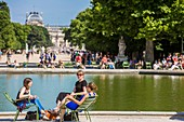 France, Paris, area listed as World Heritage by UNESCO, the Tuileries Gardens, listed as historical monuments in 1914, the octagonal basin