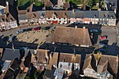 France, Calvados, Beuvron en Auge, labeled The Most Beautiful Villages of France (aerial view)