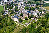 France, Mayenne, Sainte Suzanne, labelled Les Plus Beaux Villages de France (The Most Beautiful Villages of France), the village and the castle (aerial view)