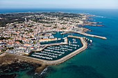 France, Vendee, Yeu island, Port Joinville, port and town (aerial view)