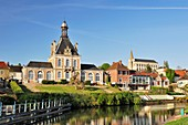 France, Somme, Long, City hall and sluice of the Somme with in the background the church of Saint John the Baptist