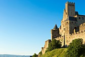 France, Aude, Carcassonne, medieval city listed as World Heritage by UNESCO, the ramparts on the western side by Porte d'Aude (Aude Gate)