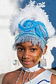 France, Guadeloupe (French West Indies), Basse Terre, Carnival (introduced by settlers in the 17th century), little girl dressed in the parade