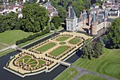 France, Eure-et-Loir, Mantenon, the castle of Maintenon and its french style gardens designed by Patrick Pottier according to the plans of Le Nôtre (aerial view)