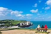 France, Seine Maritime, Pays de Caux, Alabaster Coast, Etretat, the beach and Aval cliff