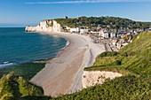 France, Seine Maritime, Pays de Caux, Alabaster Coast, Etretat, the beach and Amont cliff