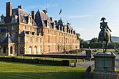 France, Seine Maritime, Eu, the 16th century Renaissance castle houses the town hall and the museum, Ferdinand duke of Orleans equestrian statue