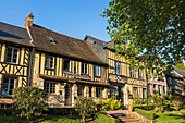 France, Eure, Le Bec Hellouin, typical timbered houses, hotel restaurant L'Auberge de l'Abbaye